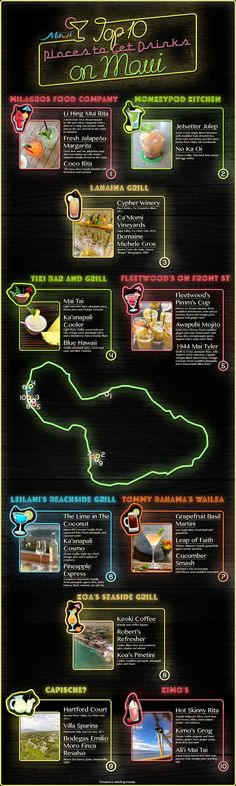 top 10 places to get drinks on maui infographic