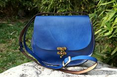 Blue Oval leather bag red medium by GalenLeather on Etsy, $59.00