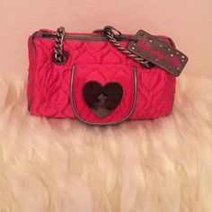 Betsey Johnson pink satin be mine purse Gorgeous bag! Pink satin be mine bag. Inside has 2 cell phone pockets and zippered pouch . Betsey Johnson Bags Mini Bags