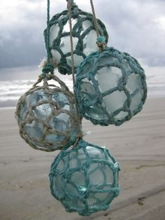 Japanese Glass Fishing Floats - Set of Original Nets, Alaska Beachcombed Bottle Trees, Glass Floats, Decorated Jars, Glass Ball, Sea Glass Jewelry, Recycled Glass, Coastal Decor, Decoration, Boho Chic