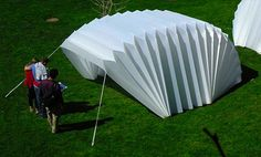 Re pinned from Leah --This folded recover shelter is used to house victims of disasters in their times of need. The structure folds out like an accordion and can be set up anywhere. I think this is an interesting concept of transportable design and using the fold for easy portability. -- Similar to the idea about the personal shelter, this is a product that could serve an even more general portion of the population in times of disaster. I think this kind of design is important and…