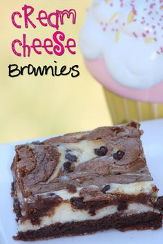 Cream Cheese  Brownies Recipe // These little brownies are very fudgey and loaded with mini-chocolate chips and swirls of cheesecake. | #brownies #chocolate #desserts