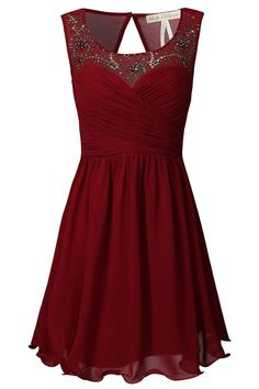 Burgundy A-line Sweetheart Chiffon Short Evening Dress with Beaded Illusion Neckline