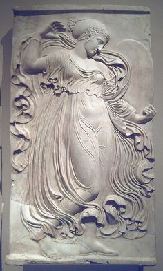 Ancient Roman relief of dancing maenad, copy after a Greek relief sculpted in Athens at the end of the 5th century BC, 120-40 A.C.