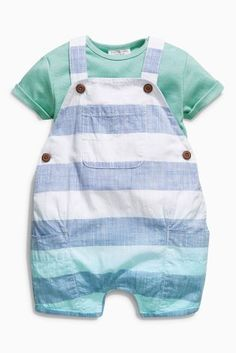 Buy White & Blue Bold Stripe Dungarees With Bodysuit (0mths-2yrs) online today at Next: United States of America
