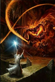 Gandalf stands against the Balrog