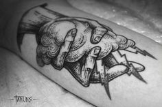 Engraving style hand holding a cloud. Tattoo Artist: Alex Tabuns