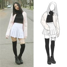 Get this look: http://lb.nu/look/8545311  More looks by Yona L: http://lb.nu/everlastingpure  Items in this look:  Pink Satin Bomber, American Apparel White Tennis Skirt, American Apparel Thigh High Socks, Topshop Platform Boots   #chic #grunge #minimal #