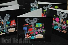 Super Simple Recycled Thank You Cards - use the wrapping paper from your gifts to make these with the kids. Cute!