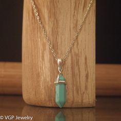 Chakra Ketting - Turquoise Kristal: korte zilverkleurige ketting