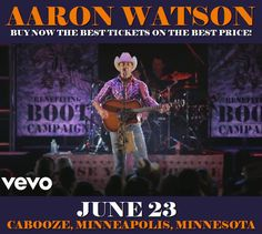 Aaron Watson in Minneapolis at Cabooze on June 23. More about this event here https://www.facebook.com/events/2024138701146770/