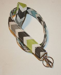 Lanyard  ID Badge Holder  Zoom Zoo Chevron zig zag blue by Laa766, $7.75
