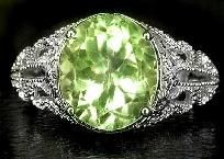 Resplendent 4.45 ctw Green Amethyst Art Nouveau Style Filigree Ring~925 SS! SZ. 6.5~Sale! Hurry!