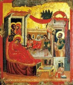 16th century icon of the Nativity of The MostHoly Mother of God explained -- http://www.johnsanidopoulos.com/2013/09/an-explanation-of-icon-of-birth-of.html?utm_source=feedburner&utm_medium=feed&utm_campaign=Feed%3A+Mystagogy+(MYSTAGOGY) The feast is celebrated September 8, and the icon is located at the Monastery of Saint Katherine at Mount Sinai.