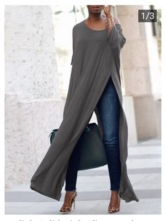 Stylish Solid High Slit Casual Blouse (S - Diy Crafts - hadido Vetement Hippie Chic, Mode Outfits, Casual Outfits, Look Fashion, Womens Fashion, Fashion Trends, Ladies Fashion, Fashion Ideas, Feminine Fashion