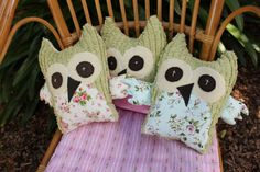 3 owls from chenille and cotton and wool blankets