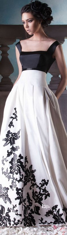 Hanna Touma ~ Couture Summer Black + White Embroidered Gown 2015