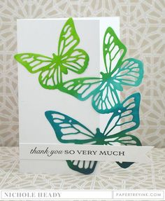 handmade Thank You Card by Nichole Heady for Papertrey Ink  ... die cut butterflies ... luv the inking colors ....