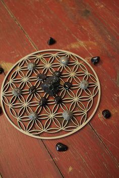 Wood Crystal Grid flower of life design 8 by The7Directions