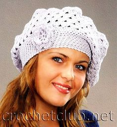 White Beret with Flower free crochet graph pattern