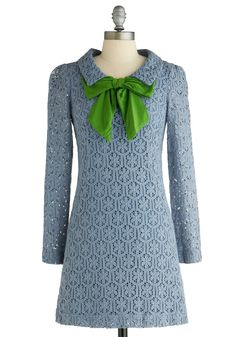Love this look! ~ Oceanside Dreaming Dress by 8000 Nerves - Blue, Green, Floral, Bows, Lace, Long Sleeve, Work, Vintage Inspired, Fall, Winter, 60s, Sheath / Shift, Mid-length