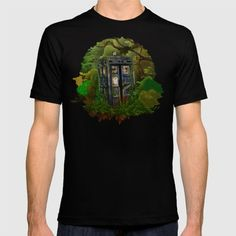 Abandoned Tardis doctor who in deep jungle tee T-SHIRT  #tshirt #tee #clothing #painting #acrylic #watercolor #ink #comic #3d #popart #doctorwho #davidtennant #10thdoctor #tardisdoctorwho #timemachine #tardis #vangogh #jungle #woods #phonebooth