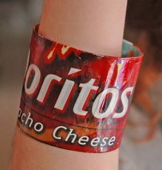 Doritos chip recycled bracelet by RecycledArts on Etsy, $2.50