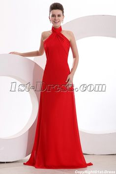 8c688a52ce Affordable Halter Neckline A-line Floor Length Red Chiffon Cockctail Dresses  For Wedding