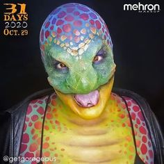 """October 29th finalist @getgoregeous Thanks to our friends at @MehronMakeup Artist Inspo: """"My snake look was inspired by the Culebras creatures in From Dusk till Dawn TV series. I wanted to create a humanoid snake that was a bit femme and all bada! I suppose having a split tongue was also an influence I've wanted to do a crazy reptilian look for a while."""" Products used: Liquid Latex EDGE Face and Body Paint Setting Powder and Paradise Makeup AQ #mehronmakeup #snakemakeup #snake… Dawn Tv, Animal Makeup, Mehron Makeup, Dusk Till Dawn, Halloween Makeup Looks, Setting Powder, Professional Makeup, Face And Body, Body Painting"""