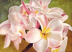 Image result for watercolor paintings flowers plumeria hawaii