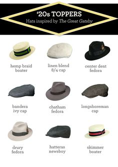 1920's hats for men inspired by The Great Gatsby. Click on the image to visit fedoras.com. #gatsbyparty #fedoras #gatsby