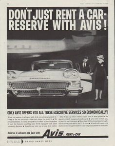 "Description: 1958 AVIS RENT-A-CAR vintage magazine advertisement ""Don't just rent a car"" -- Don't just rent a car -- reserve with Avis! Only Avis offers you all these executive services so economically! Reserve in Advance and Save with Avis Rent-a-Car -- Size: The dimensions of the full-page advertisement are approximately 10.5 inches x 13.5 inches (26.75 cm x 34.25 cm). Condition: This original vintage full-page advertisement is in Excellent Condition unless otherwise noted."
