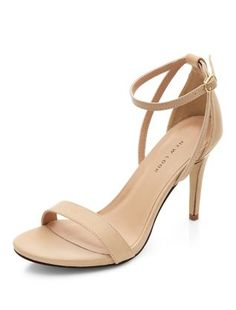 Stone Leather Ankle Strap Heels    New Look