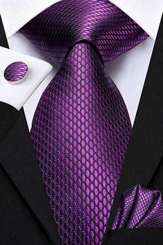 "3 Piece Silk Tie Set Color: Purple and Black 59"" Length, 3.35"" Width Matching cufflinks and pocket square Black Silk, Purple And Black, Man Gear, Tie Crafts, Elegant Man, Modern Gentleman, Tie Shoes, Wedding Ties, Men's Fashion"