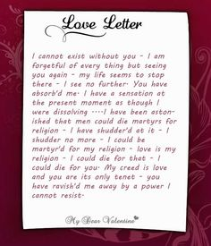 Sweet love letter to a girlfriend