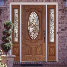 Feather River Doors in. Lakewood Patina Oval Lt Stained Medium Oak Left-Hand Fiberglass Prehung Front Door w/ - The Home Depot Front Door Design Wood, Door Gate Design, Main Door Design, Wood Front Doors, Front Door Colors, Porch Doors, Entrance Doors, Barn Doors, Exterior Doors With Sidelights