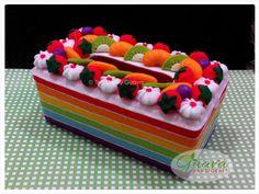 GUAVA Handicraft   Flanel Unik dan Eksklusif: Kotak Tisu Flanel - Rainbow Cake 09