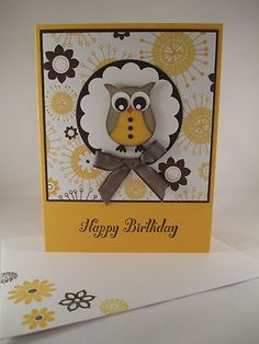 Stampin Up Punched Owl Yellow Handmade Happy Birthday Card | eBay