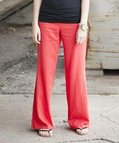 Love this Coral Ocean Side Linen-Blend Wide-Leg Pants - Women on #zulily! #zulilyfinds