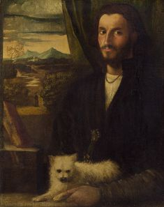 Cariani Venetian, 1485/1490 - 1547 or after Portrait of a Man with a Dog c. 1520 oil on canvas