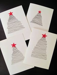 Easy, cute DIY Christmas Cards - another Advent Fundraiser idea Diy Christmas Cards, Noel Christmas, Simple Christmas, Handmade Christmas, Easy Diy Xmas Cards, Christmas Decorations, Christmas Postcards, Christmas Fabric, Navidad Simple