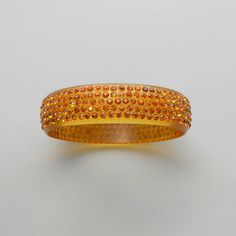 Art Deco Celluloid Bracelet with Rhinestones Amber by pinguim, $100.00