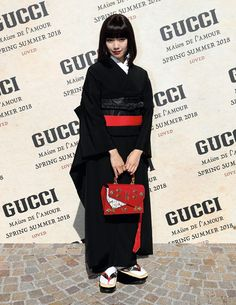 Attending the Gucci Spring Summer 2018 fashion show in Milan, Fumi Nikaido