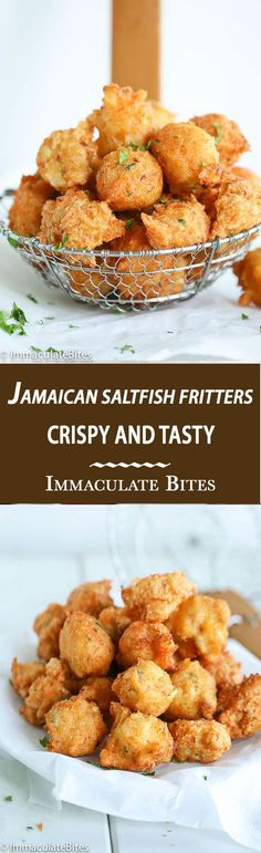 Spiced Jamaican Saltfish fritters (To make paleo - Omit sugar, replace flour with grated/grounded yuca (at least 1 cup cap packed), use minced garlic cloves) instead of granulated garlic, use baking soda and acv/lemon instead of baking powder, add c Jamaican Cuisine, Jamaican Dishes, Jamaican Recipes, Jamaican Appetizers, Guyanese Recipes, Healthy Appetizers, Fish Recipes, Seafood Recipes, Indian Food Recipes