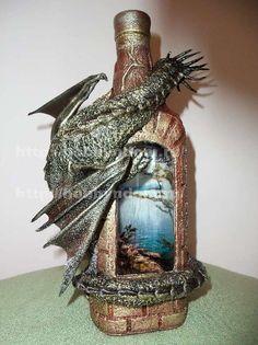 МК.Декор бутылки «Сокровище дракона»
