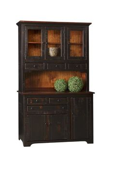 Amish Colonial Hutch This Colonial Hutch creates an instant cozy feel when you enter the room. Enjoy this storage for dishes, serving pieces, linens, candles or whatever you desire. Affordable quality pine furniture. #pinehutch #farmhousehutch #farmhouse #hutches