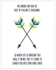 An arrow can only be shot by pulling it backward.  So when life if pulling you back, it means it is going to launch you into something great.