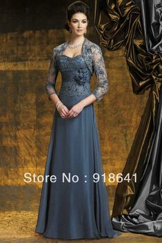 A-line Floor-length Chiffon Sweetheart Applique Bridal Mother Dress