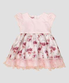 Vestido baby rosa e off white