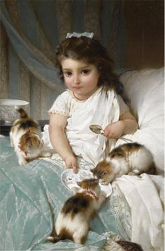 1882 Feeding New Friends - Emile Munier (1840-1895), was a French academic artist and student of William-Adolphe Bouguereau. Émile Munier was born in Paris